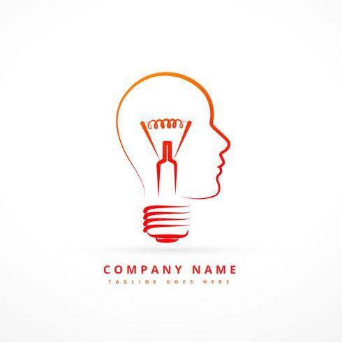 projeto de símbolo de negócio conceito com rosto e bulbo