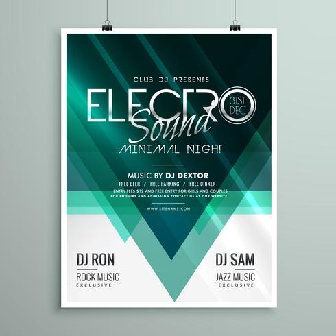beautiful electro club party flyer template design