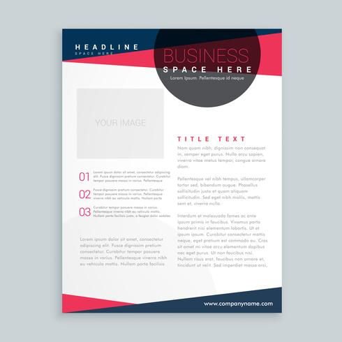 modern pink and blue business flyer brochure design template in