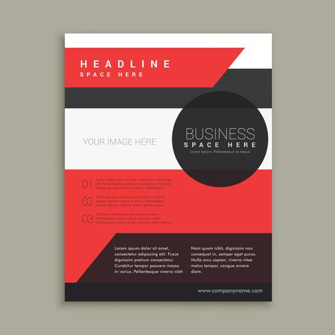 company business brochure template in red black and white colors