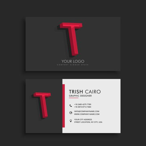 clean dark business card with letter T