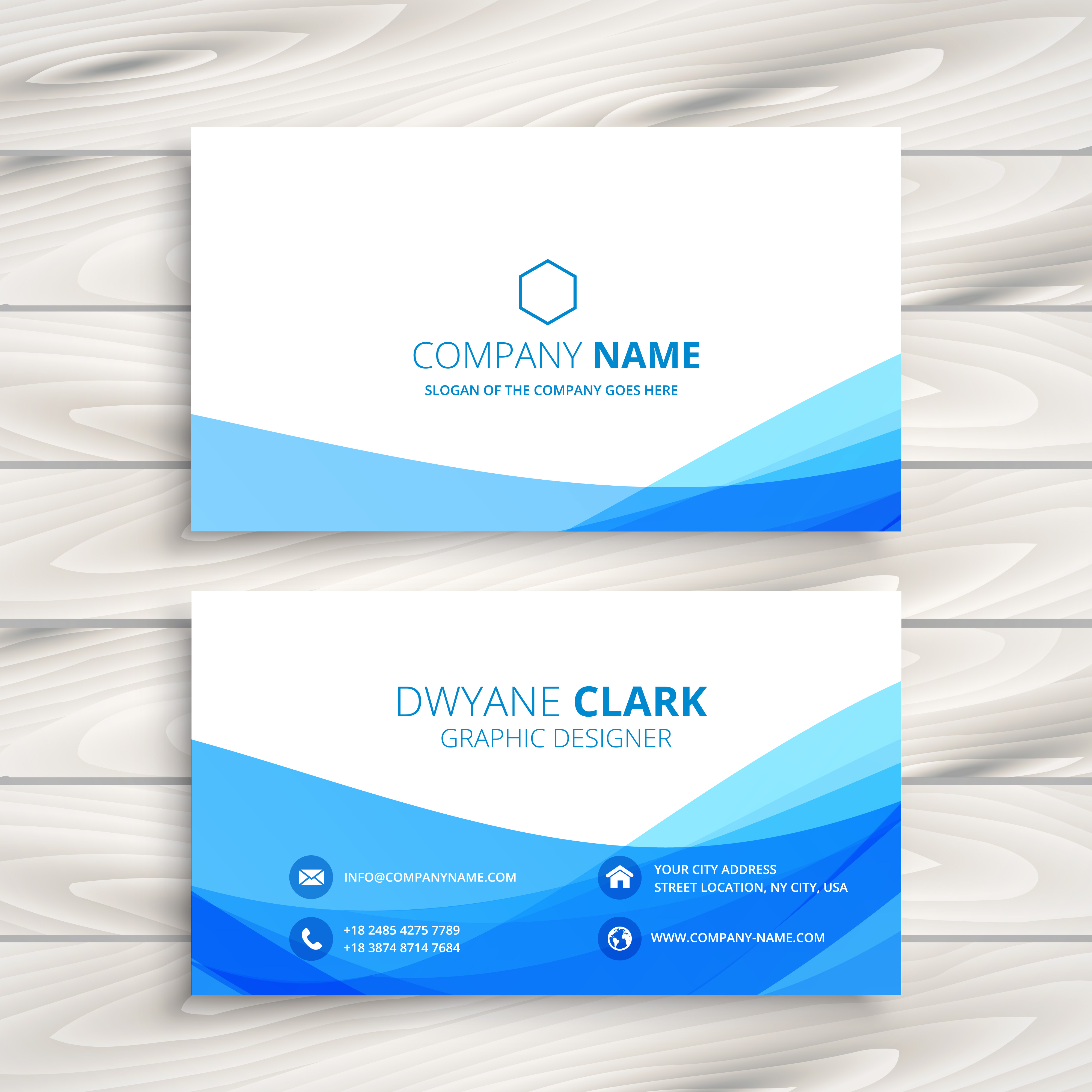 Blue Corporate Stationary Pack By Betty Design: Abstract Wave Business Card Vector Design Illustration