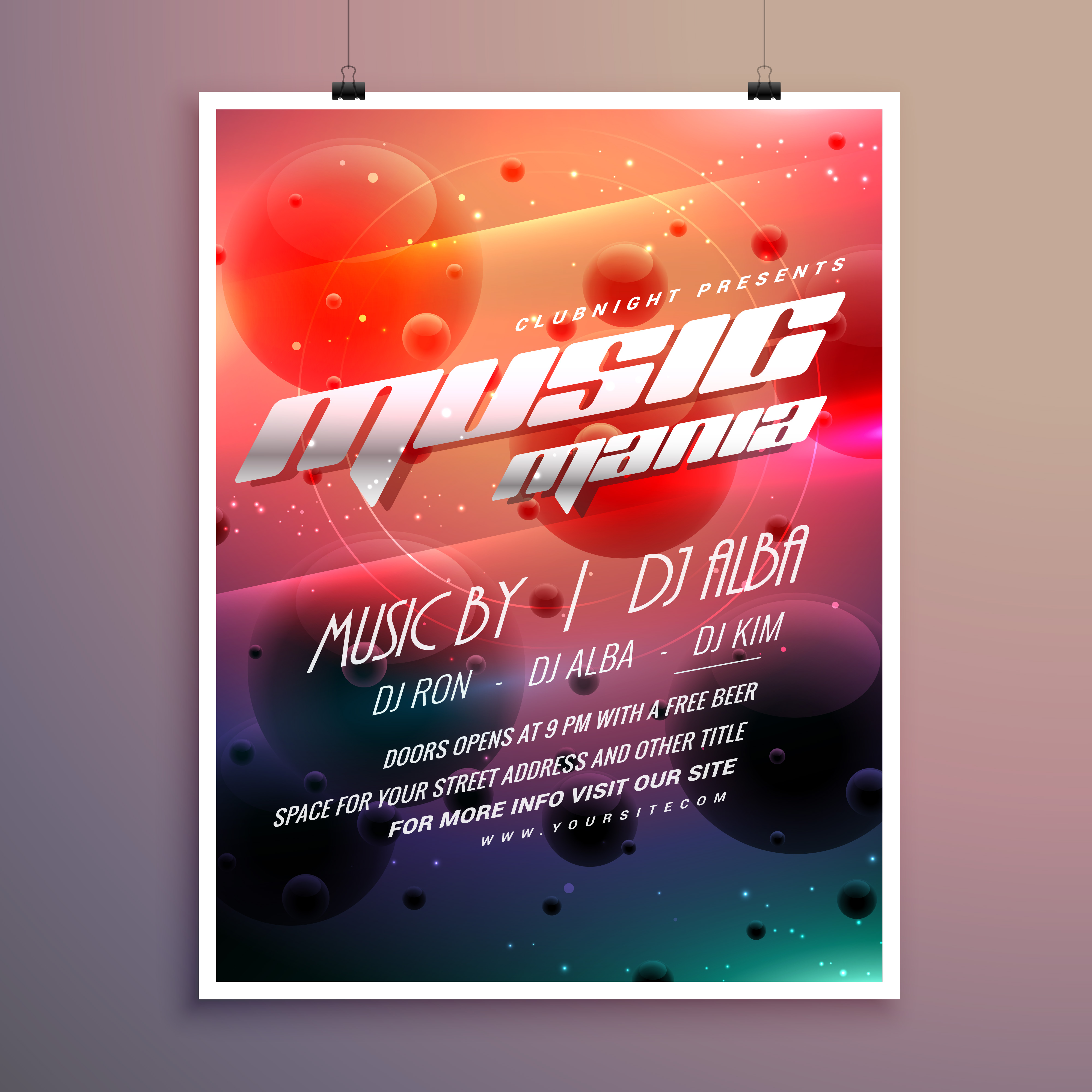 music party event flyer with colorful background ...