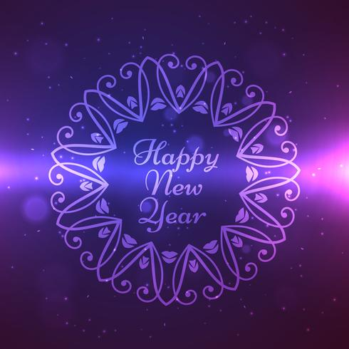 happy new year design in ornament frame