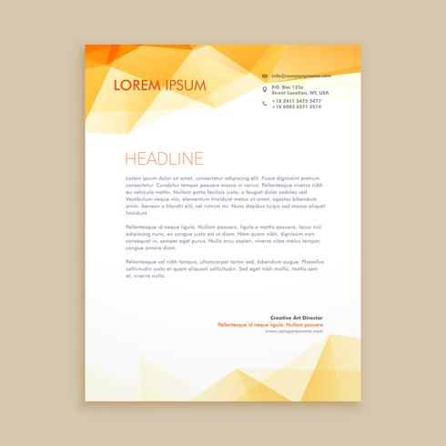 yellow low poly business letterhead template vector design illus