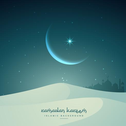 ramadan kareem islamic festival with moon and sand dunes