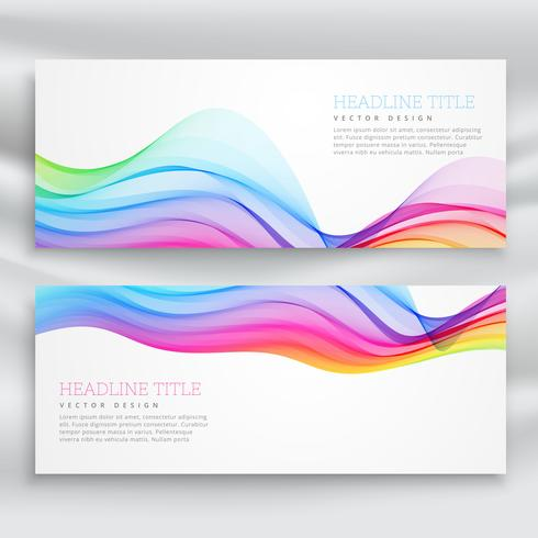 colorful wave banner on white background