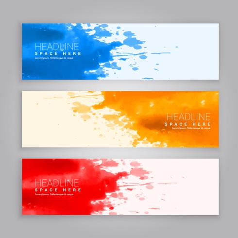 abstract grunge ink splash web banners template
