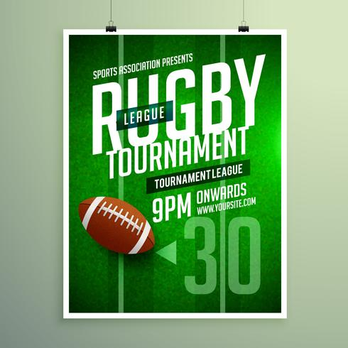 rugby league game flyer design invitation template