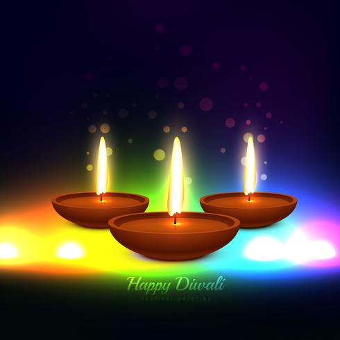 colorful diwali festival greeting card vector design illustratio