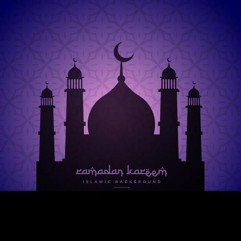 mosque silhouette design in purple pattern background