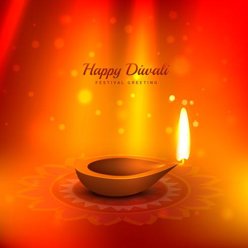 beautiful diwali background with diya and light rays coming from