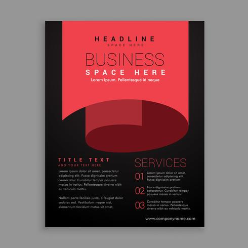 minimal red curl page style brochure design template