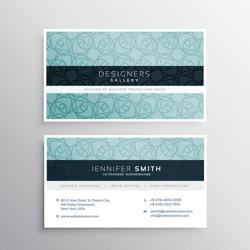 company business card with blue pattern shapes