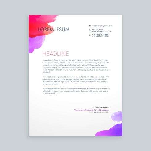 creative ink business letterhead template vector design illustra
