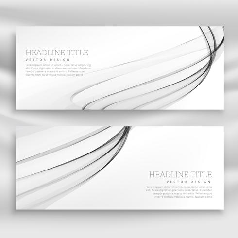 gray wavy banners template set