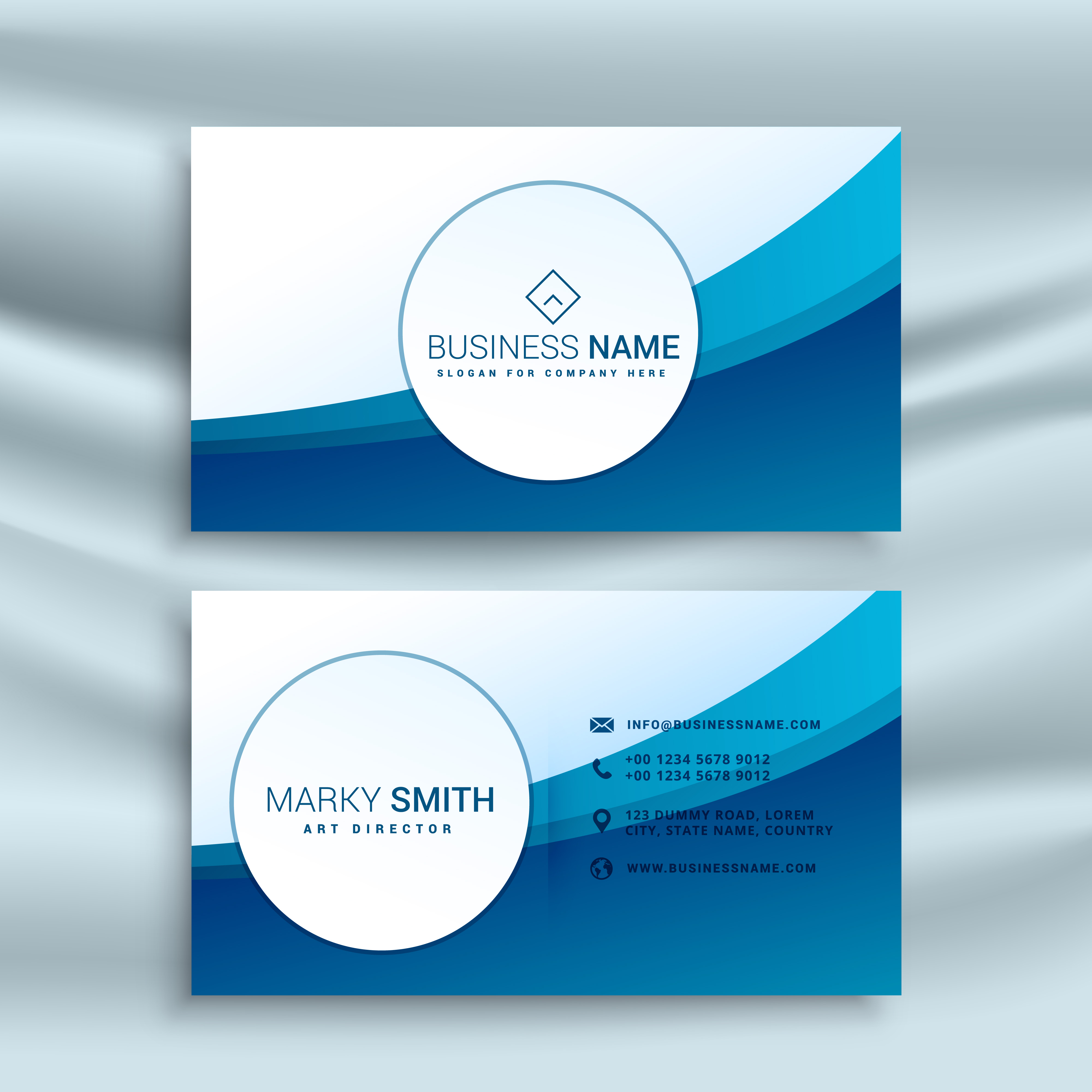 Blue Corporate Stationary Pack By Betty Design: Business Card Template With Blue Abstract Wave