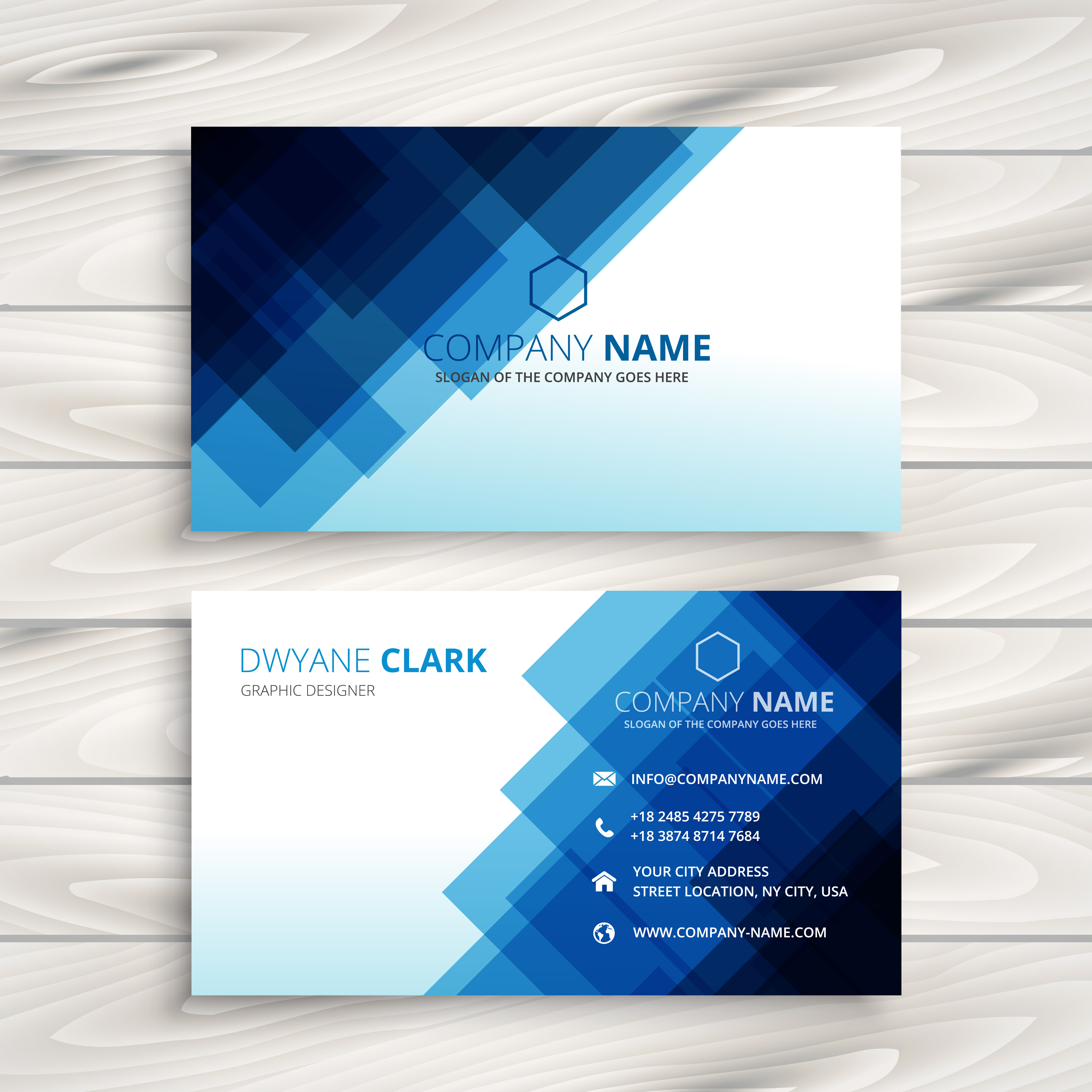 Blue Corporate Stationary Pack By Betty Design: Abstract Blue Business Card Template Vector Design