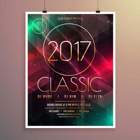 2017 new year party event flyer template with colorful lights ba