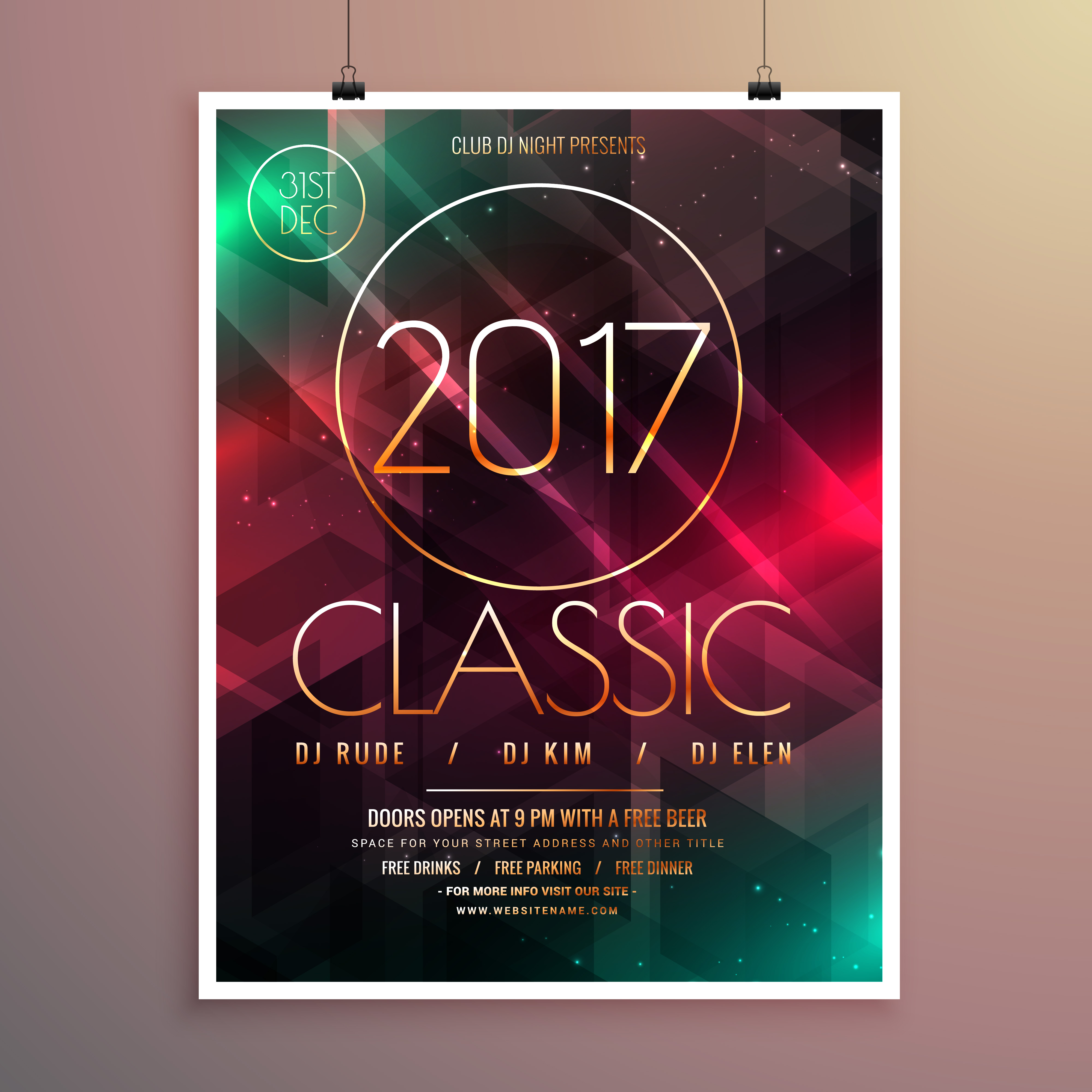 2017 new year party event flyer template with colorful