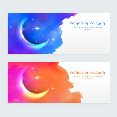 creative moon design islamic banners with colorful ink