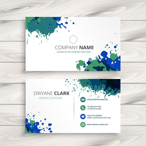 creative splatter business card. Business vector design illustra