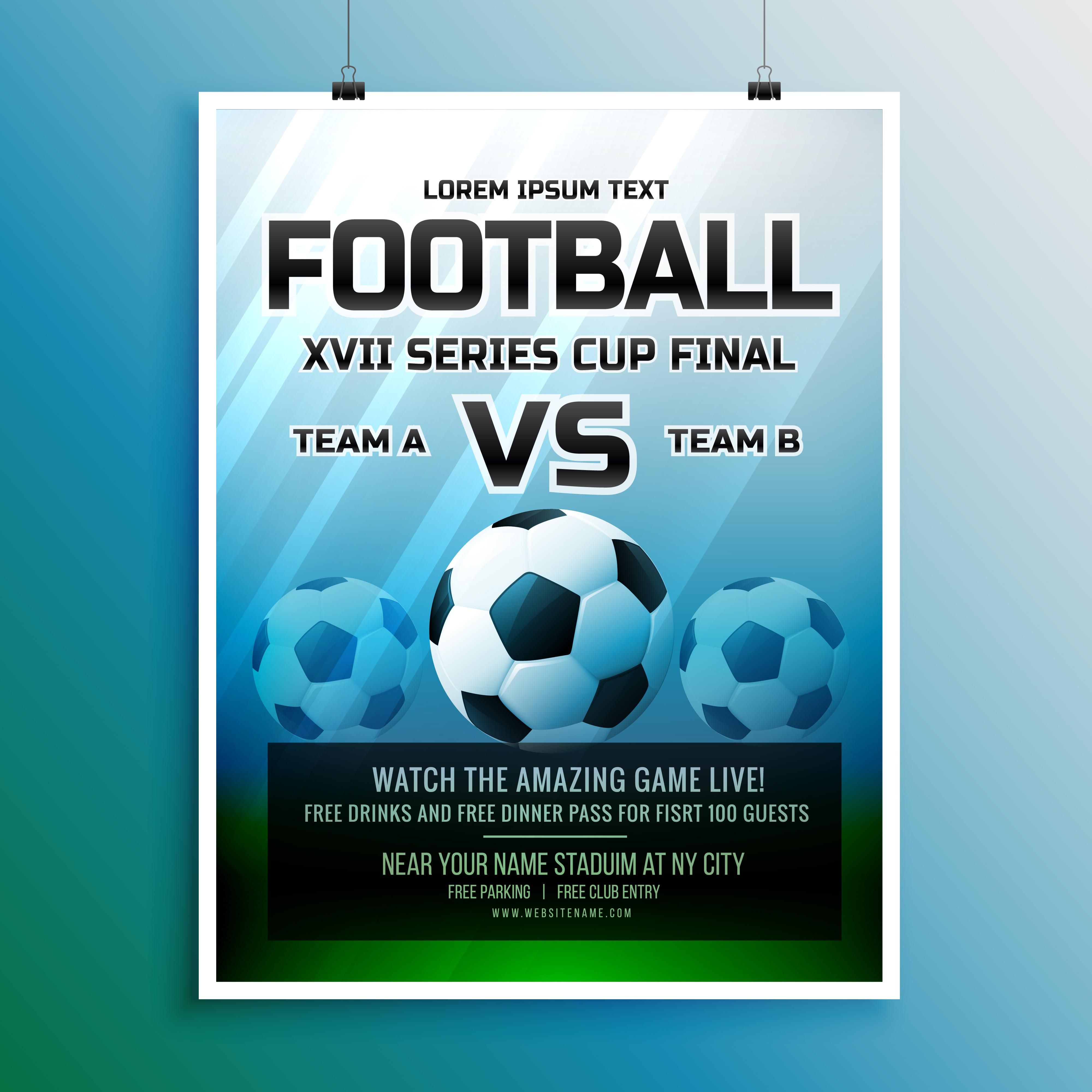 football game event tournament invitation design template