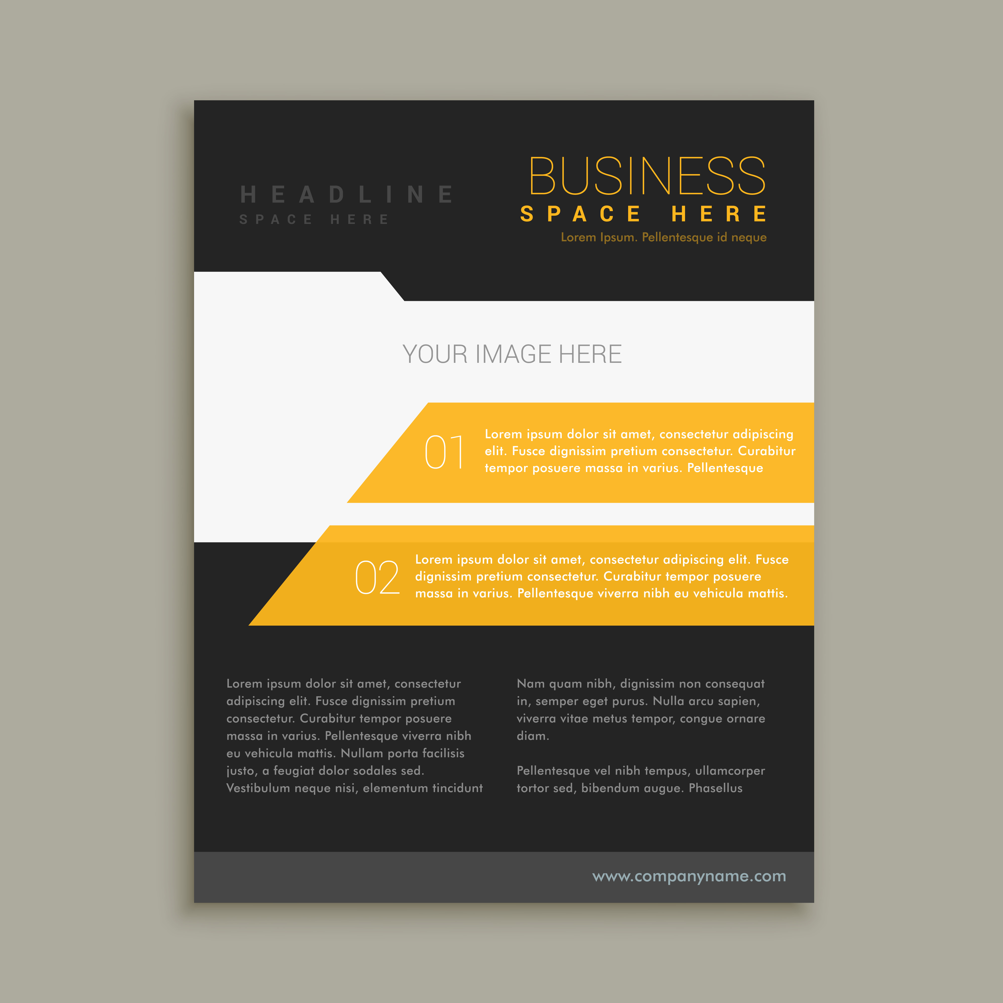 yellow and black business brochure flyer poster template. Black Bedroom Furniture Sets. Home Design Ideas