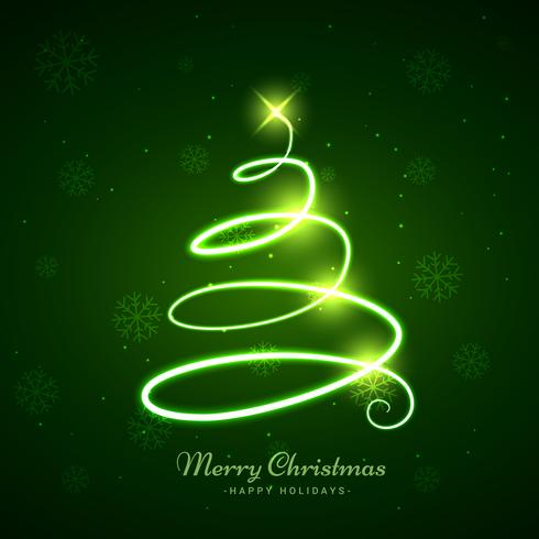 glowing christmas tree in green background