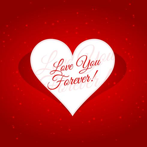 love you forever message in heart vector design illustration