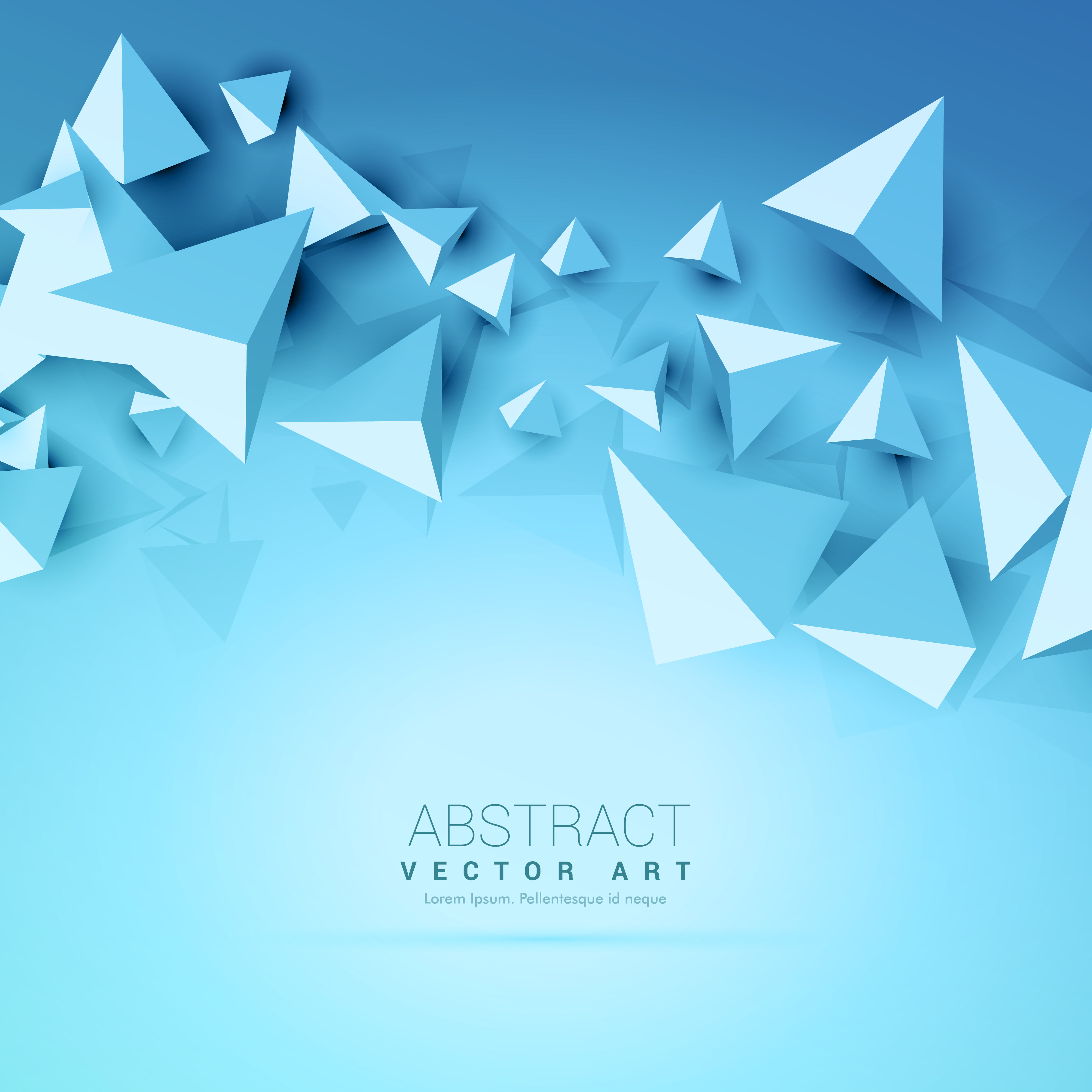 3d Triangles Abstract Blue Background