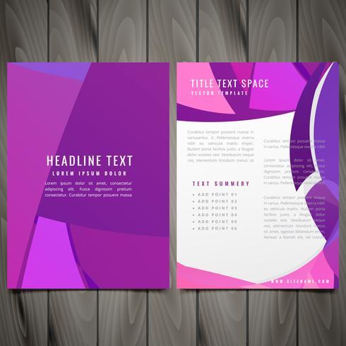 purple wave style brochure flyer vector design