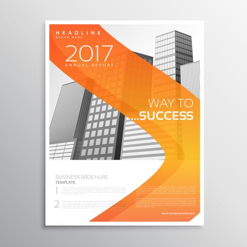 business brochure design with orange wavy shape