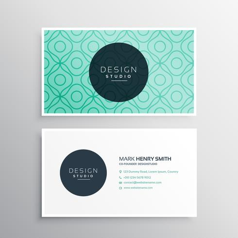 corpotate business card design in minimal style with light blue
