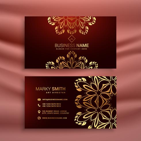 golden floral luxury business card template