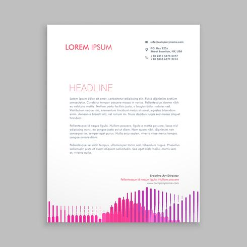 letterhead design with pink stripes template vector design illus