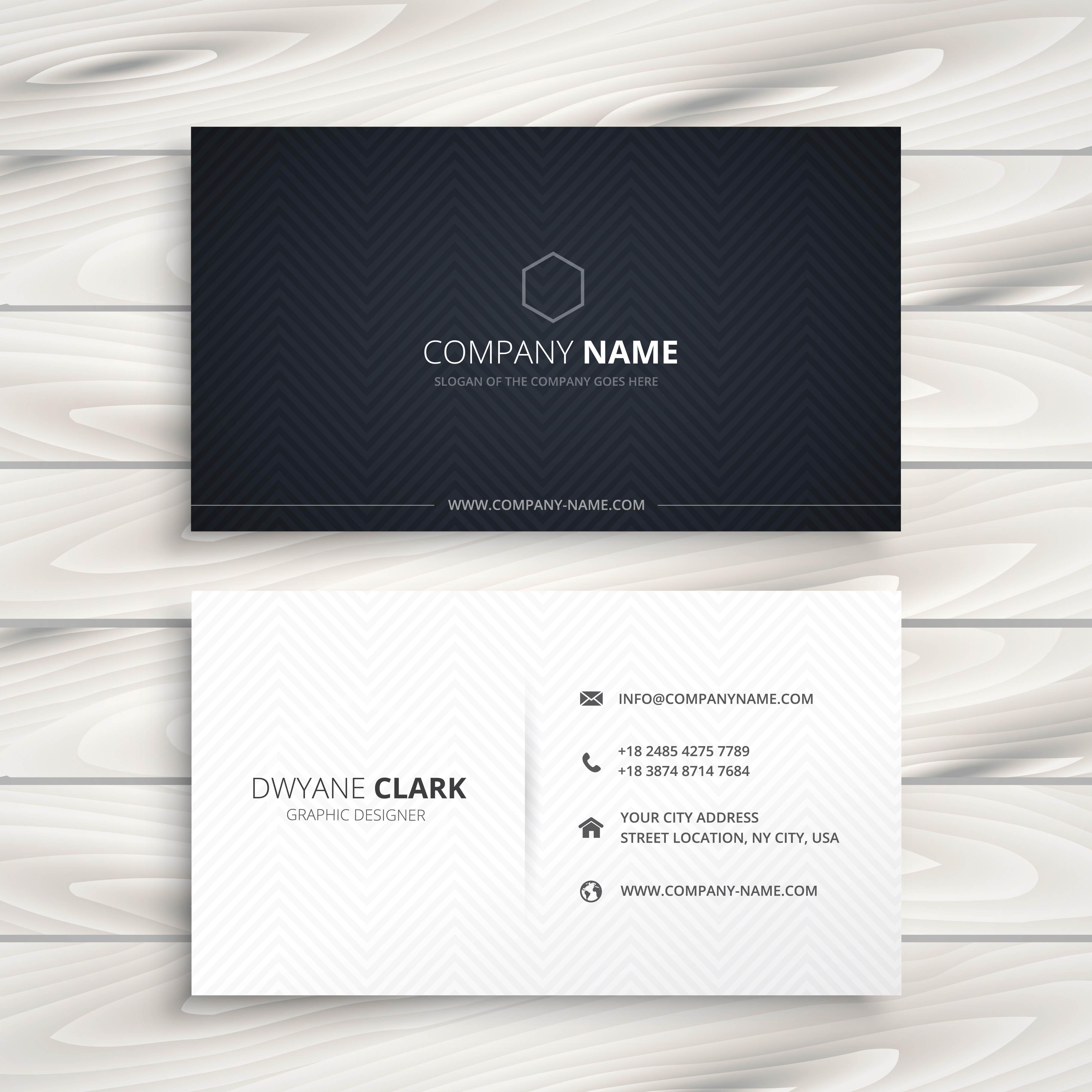 Simple Business Card In Black And White Style Vector