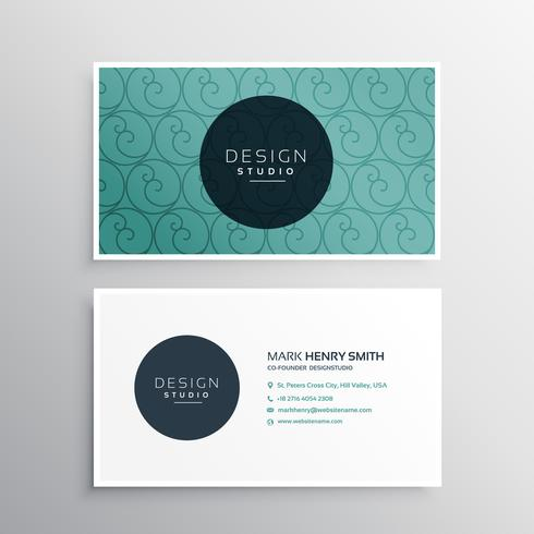 minimal blue business card with pattern design