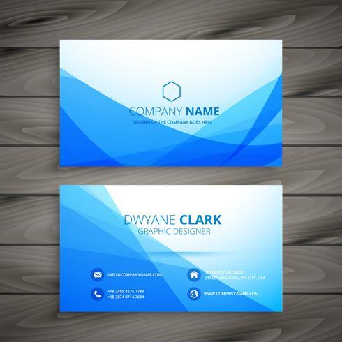 blue wave business card template vector design illustration