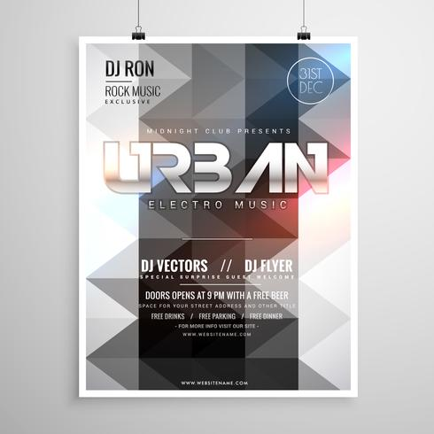 urban music party flyer template with abstract geometric shapes