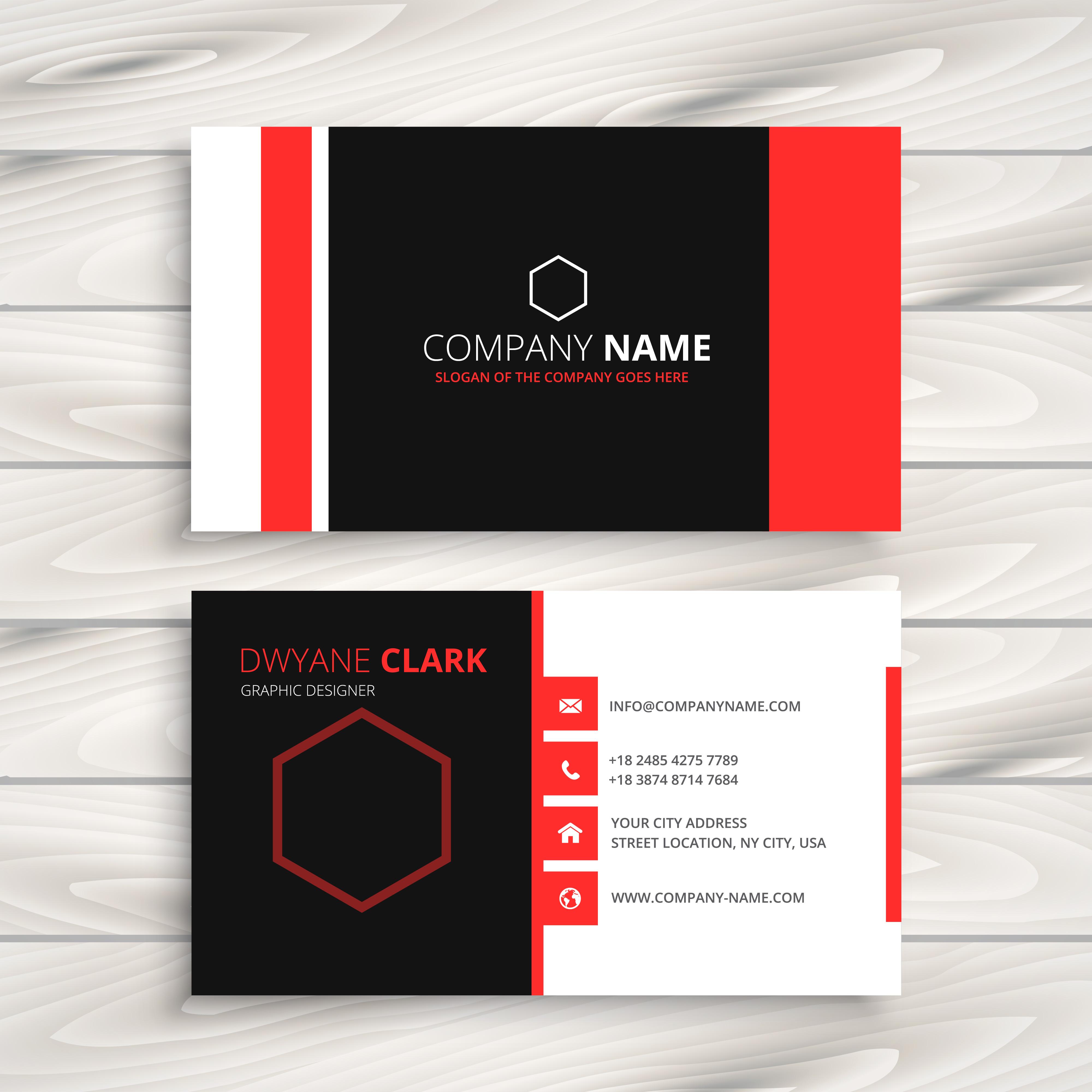 red modern business card template vector design illustration ...