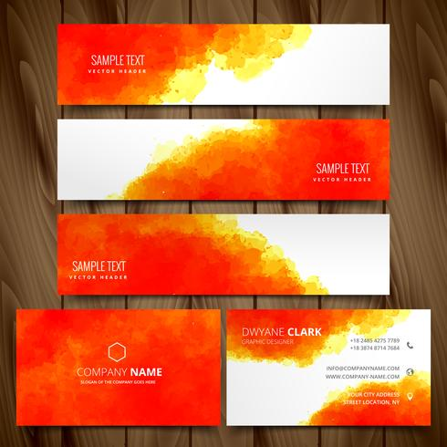 modern set of business cards and web headers vector