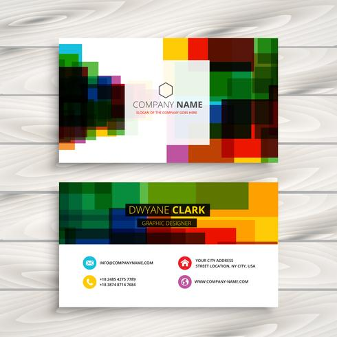 Colorful Square Business Card Template Vector Design Illustratio - Square business card template
