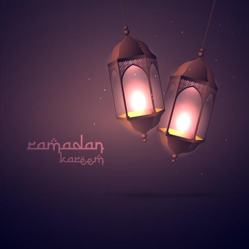 Ramadan Kareem groet met hangende lampen