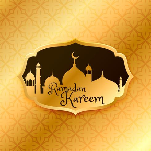 beautiful ramadan kareem greeting with golden mosque and pattern