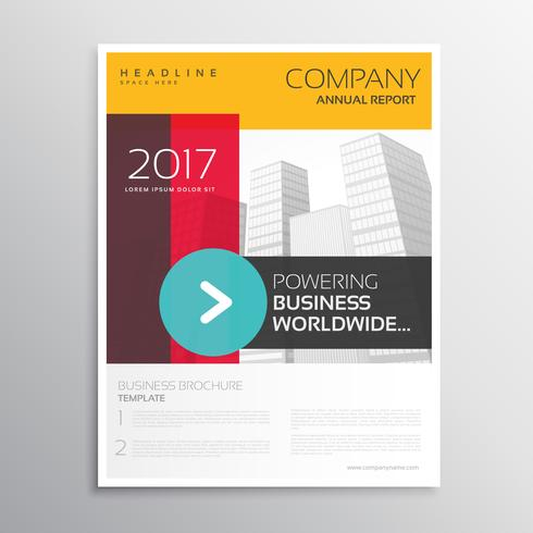 company leaflet brochure template with colorful shapes and arrow
