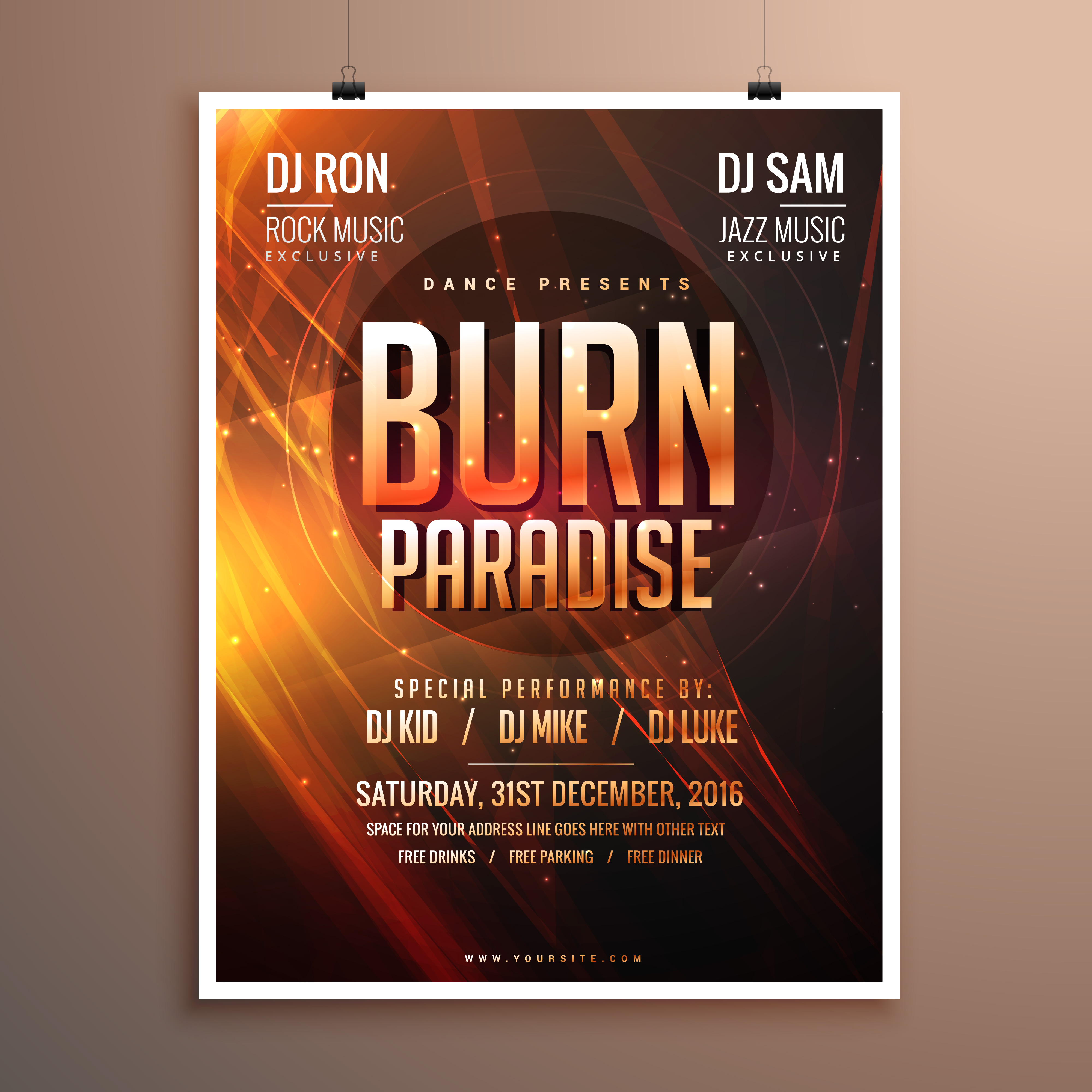 Music Party Flyer Template Card With Abstract Fire Theme Download