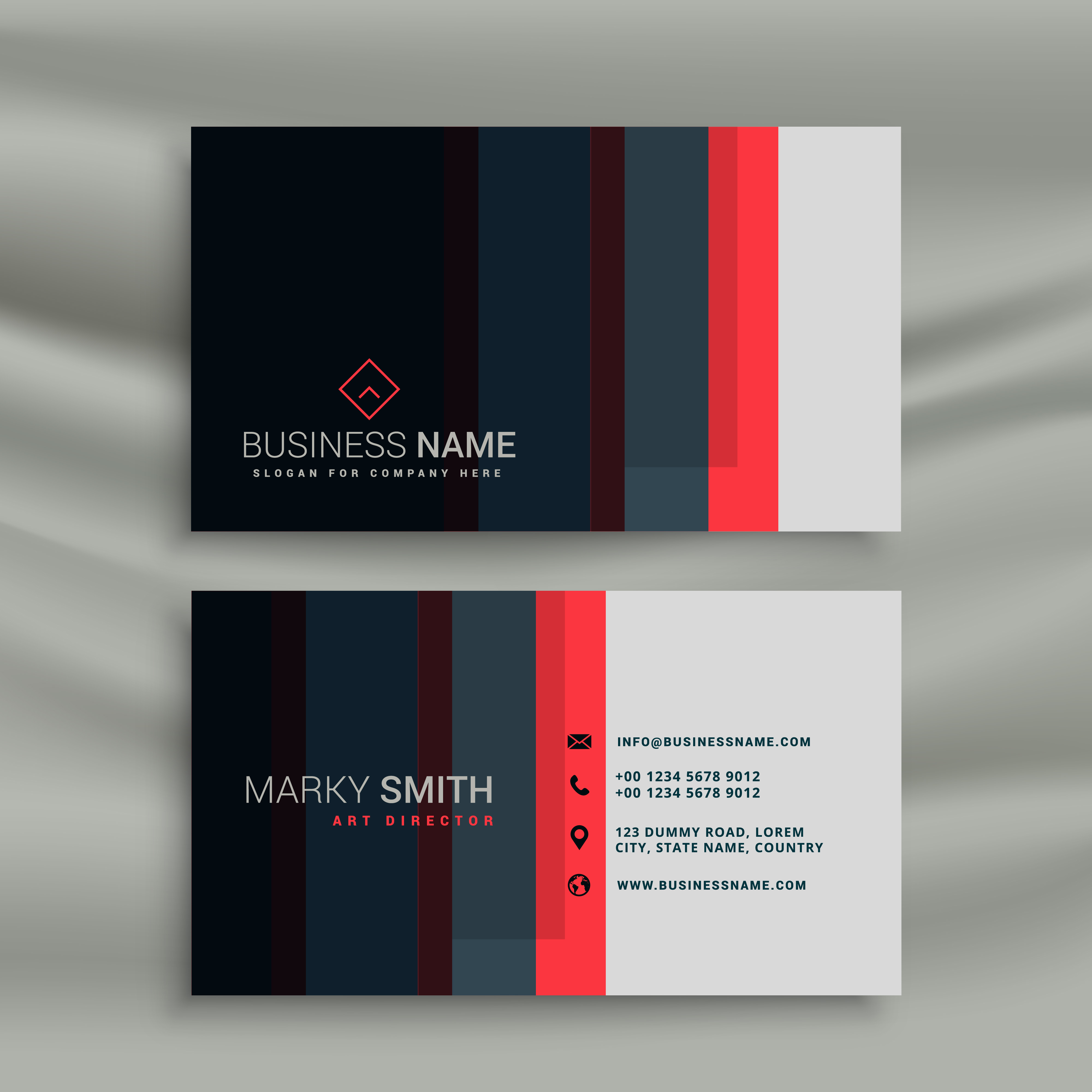 Blue Corporate Stationary Pack By Betty Design: Modern Creative Business Card Identity Template With Red