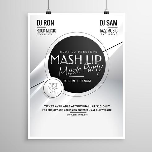 music party flyer template layout design for new year