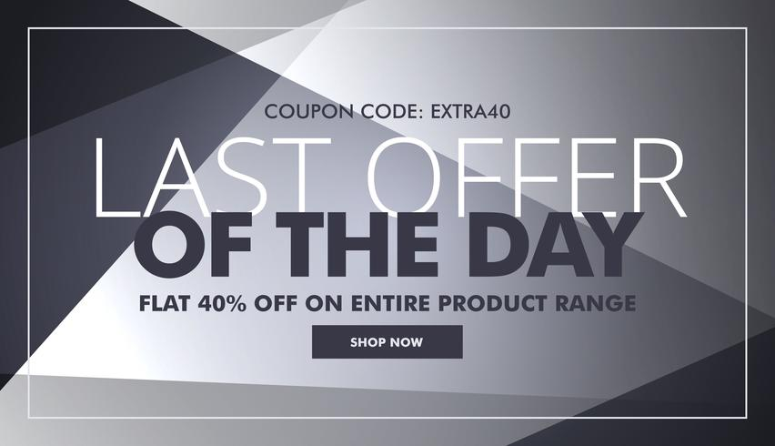 gray sale and discount banner with last offer of the day text